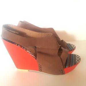 Joe's Jeans Tyra Sedlea  leather wedges  size 8.5